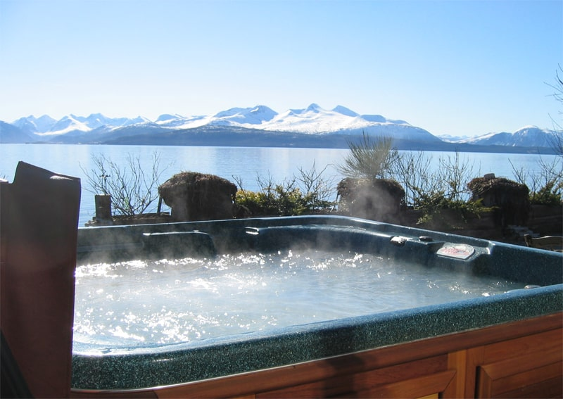 arctic spas hot tub with great view