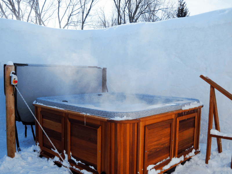 Arctic Spas Hot tub outside in winter